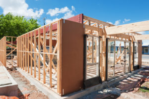 House under construction, secured with homeowners insurance